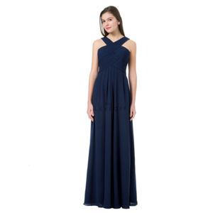 Bill Levkoff Navy Dress 10 Halter Neck Maxi  NWT
